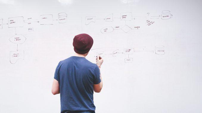man writing ideas on whiteboard