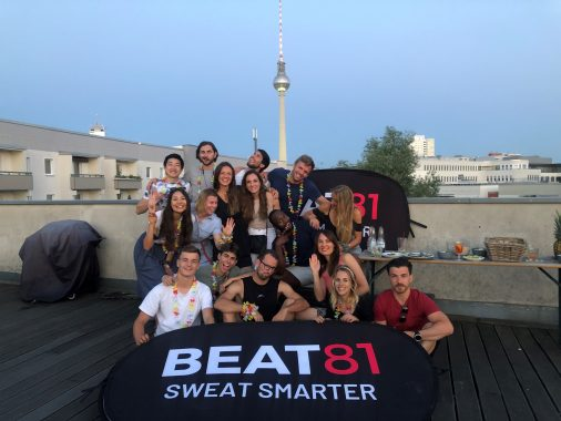 Beat81 team photo with TV tower in background