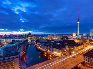 Berlin city Skyline in the evening