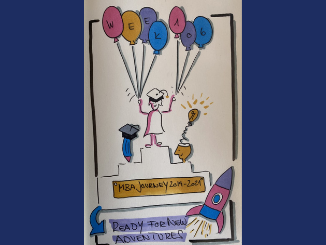 Sketch of a female stanind on a podium on graduation day holding balloons